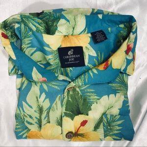 Caribbean Joe Men's Button Down Hawaiian Shirt XL